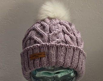 Dusty Grape Knit Cabled Hat with Turned Brim and Pom-Adult Medium