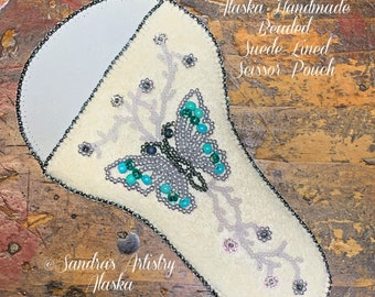 """Alaska Handmade Beaded Suede-Lined Scissor Pouch-Fits 5"""" L Craft/Sewing Scissors (Turquoise)"""