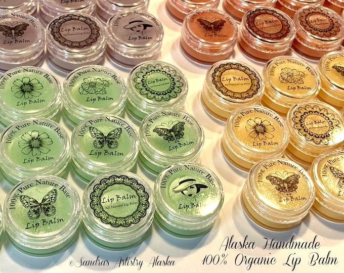 Alaska Handmade 100% Organic Lip Balm in Containers-Many pearl pigment-essential oil options