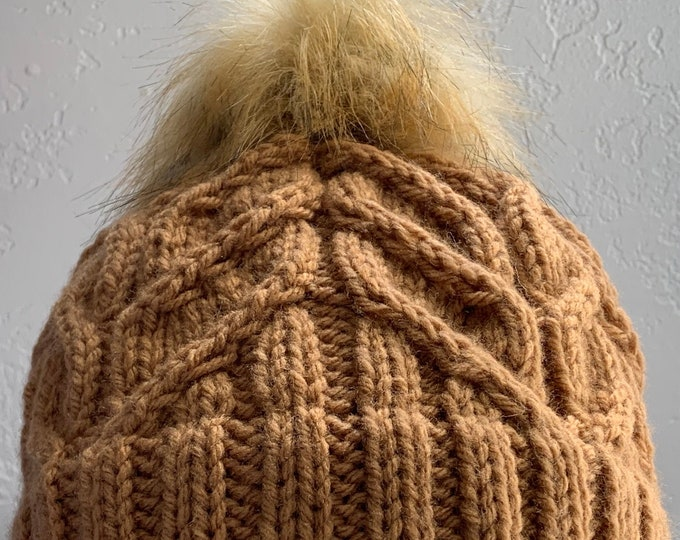 Camel Knit Cabled Hat with Rolled Brim and Pom-Adult Medium