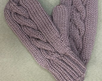 Dusty Grape Cabled Mittens-Handmade and Designed-Three Sizes