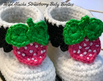 ALASKA WILD STRAWBERRY Baby Booties (Three Size Options)