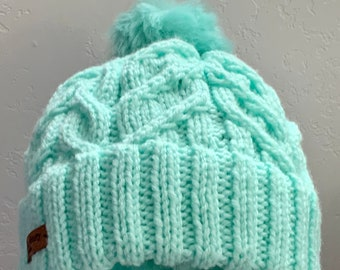 Aqua Knit Cabled Hat with Rolled Brim and Pom-Adult Medium