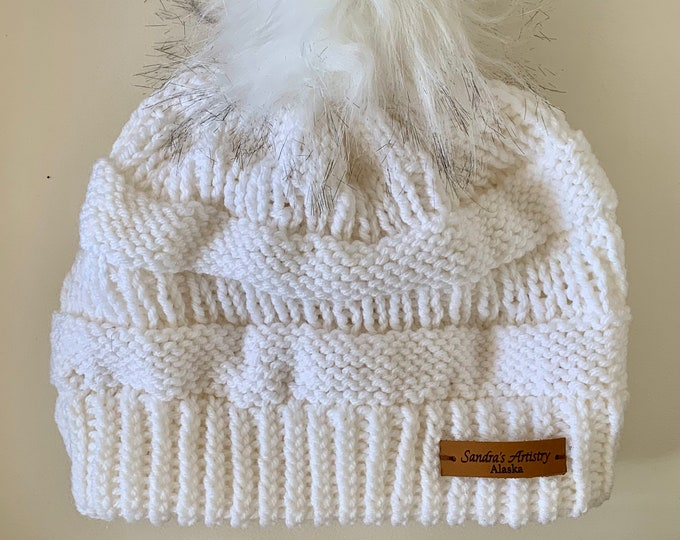 CC Hat-White with Faux Fur Ball (Knit)-Adult Size