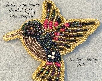 "Alaska Handmade Beaded Glitzy Hummingbird-3-1/2 L x 3-3/4 W"" in Czech Glass Beads"