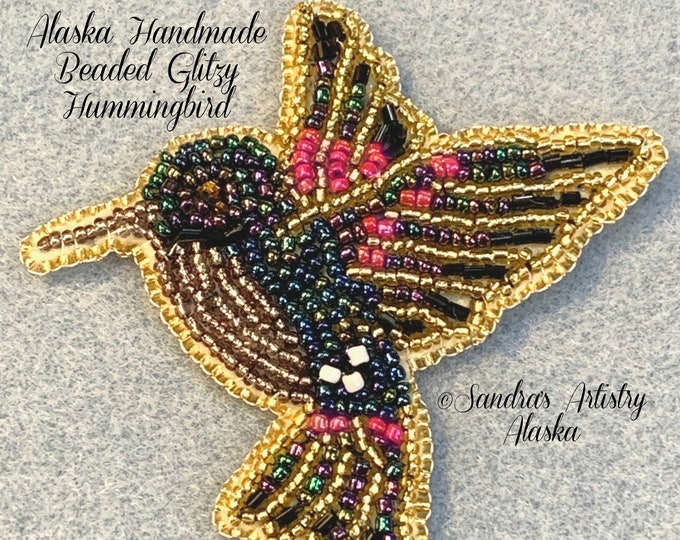 "Alaska Handmade Beaded Glitzy Hummingbird-3-1/2 L x 3-3/4 W"" in Czech Glass Beads"