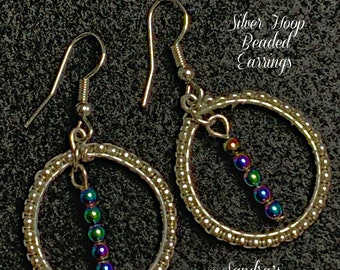"""Silver Hoop Beaded Earrings (Hematite Silver) 1-7/8""""Lx1""""W"""