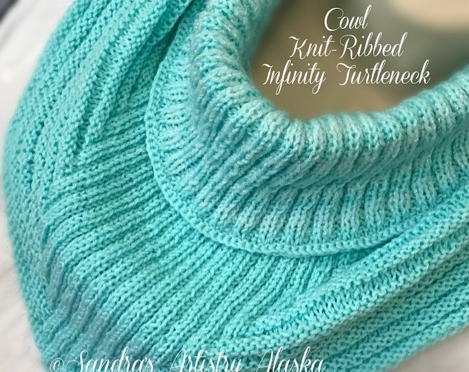 Cowl Knit-Ribbed Infinity Turtleneck