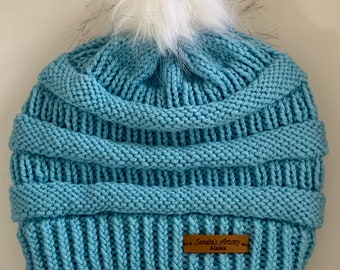 CC Hat-Iced Aqua with Faux Fur Pom (Knit)-Adult Size