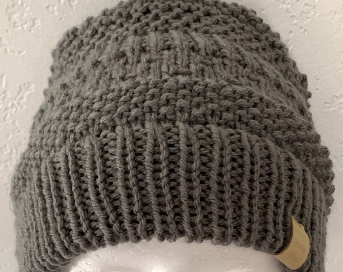 Charcoal Knit Ribbed Hat-slightly slouchy-Adult Size Large
