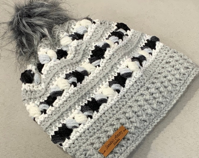 Black-Gray-White Hat/Beanie with Faux Fur Pom