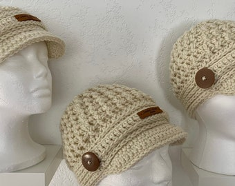 Unisex Beige News Boy Cap-Hat - Three Sizes