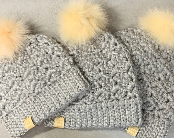 Chunky Beanie Hat (Silver-Gray) 3 Size Options