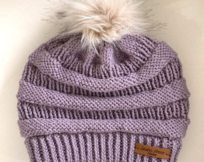 CC Hat-Dusty Grape with Faux Fur Ball (Knit)-Adult Size