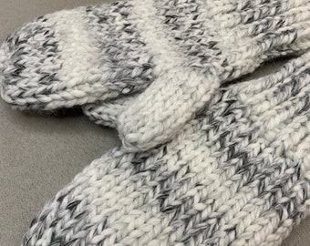 Marble Soft Chunky Knit Mittens-Handmade and Designed-Adult Medium Size