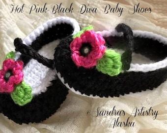 Diva Baby Shoes (2 Color Schemes-3 Szs Ea Scheme)