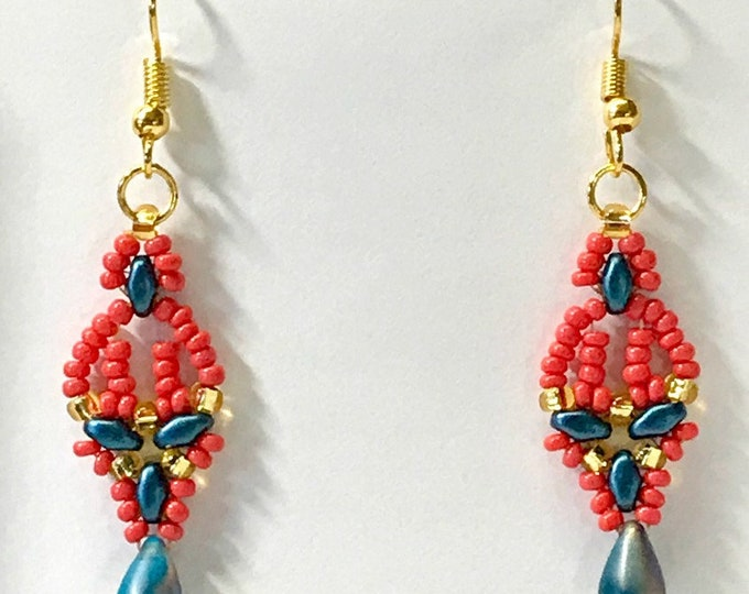 Beaded Earrings in Coral-Blues-Gold