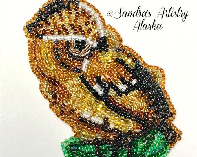 """Alaska Beaded Baby Owl-3-1/4 L x 2-1/4 W"""" in Czech Glass Beads"""