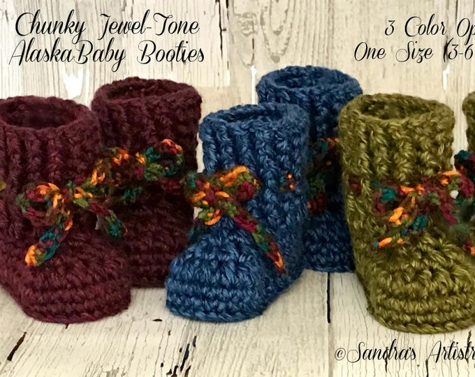 Chunky Jewel-Tone Alaska baby booties: Size 3-6 Months in 3 Jewel-Tone Hues
