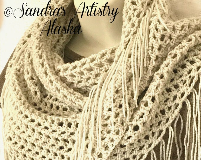 "Tan Lace Fringed Boho Chic Shawl (50""L x 24 Deep"")"