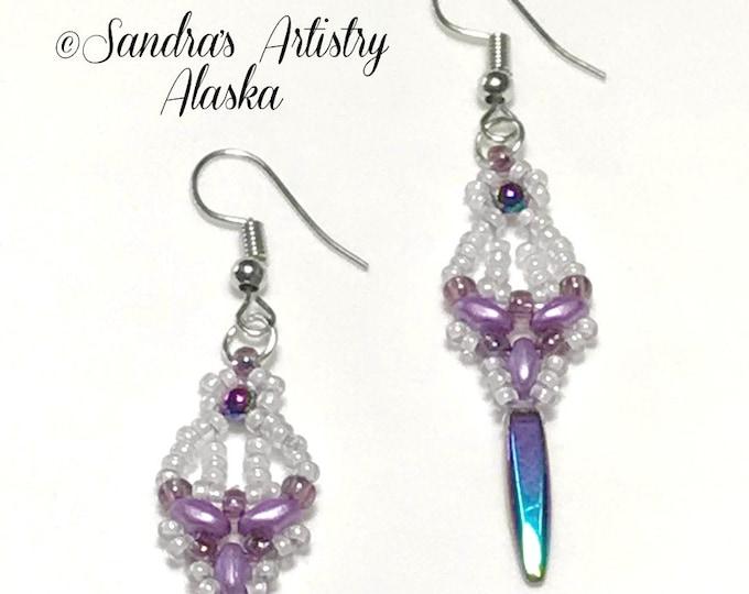 Beaded Earrings in Hematite-Lavender-White  (Handmade and Designed)