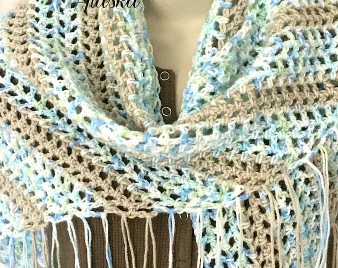 "Blue-Tan-White Lace Fringed Boho Chic Shawl (50""L x 24"" Deep)"