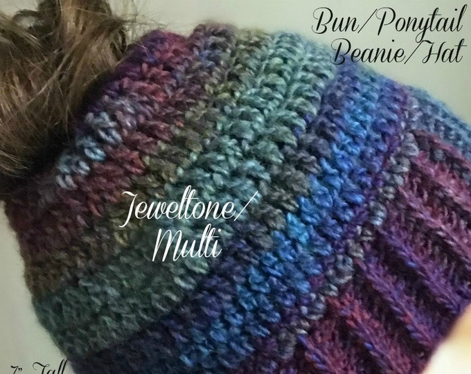 Bun/Ponytail Beanie/Hat (3 Multi Color Options)