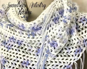 "Lavender-Blue-White Lace Fringed Boho Chic Shawl (50""L x 24"" Deep)"