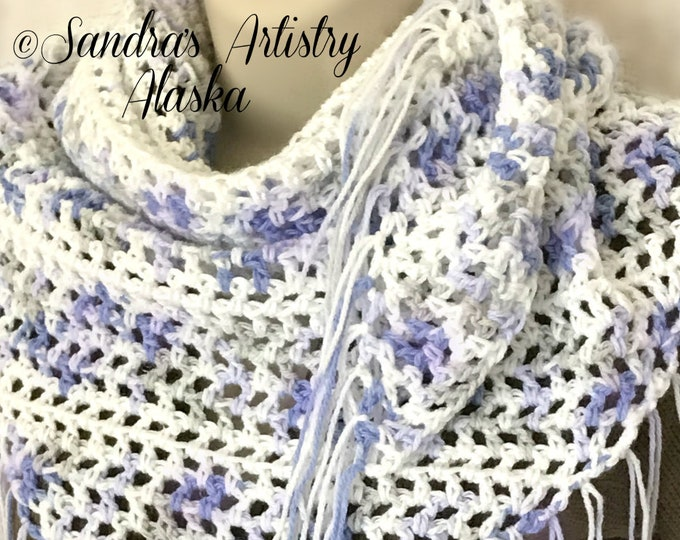 "Lavender-Blue-White Lace Fringed Boho Chic Shawl (50""L x 24"" Deep)"