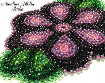 "Alaska Handmade Beaded Flower-Leaves-3x4"" in Czech Glass Beads"