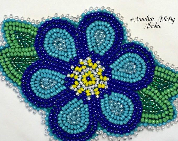 "Alaska Handmade Beaded Forget Me Not-3x4"" in Czech Glass Beads"