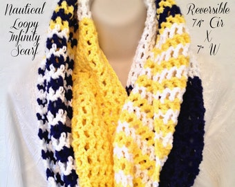 "Nautical Loopy Infinity Scarf (74"" Cir x 7"" W)"