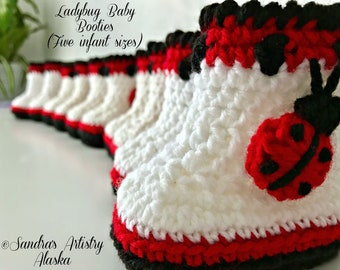 Ladybug Baby Booties-5 Infant Sizes