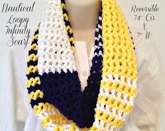 "Nautical Loopy Infinity Scarf (74"" Cir x 7"" W) for all Seasons"