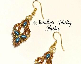 Beaded Earrings in Copper-Teal-Gold