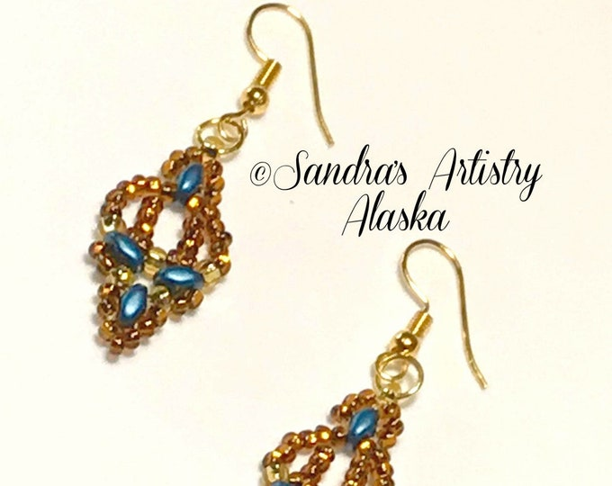Beaded Earrings in Copper-Teal-Gold