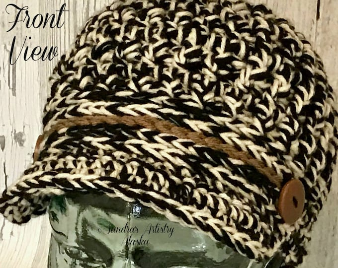 Chunky News Boy Hat-Variegated Blk-Wt with Camel Highlights: Fits the average woman