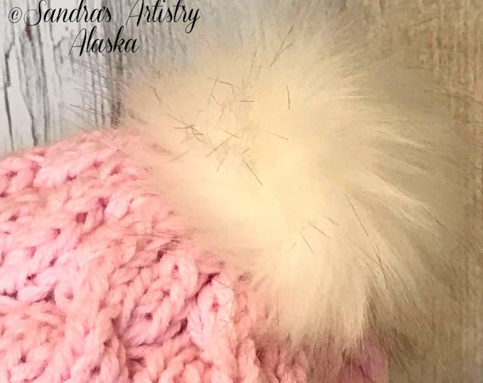 Chunky Pink Cabled Hat (Folded Brim and Faux Fur Pompom)