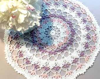 "White-Purple-Pink Cotton Handmade Doily (15"" DIA)"