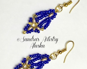 Beaded Earrings in Sapphire Blue-Gold  (Handmade and Designed)