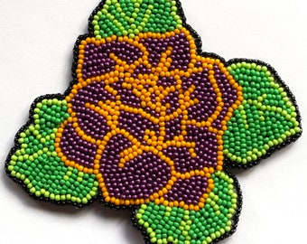 "Alaska Handmade Beaded Large Purple Rose-4-1/4x4-1/4"" in Czech Glass Beads"