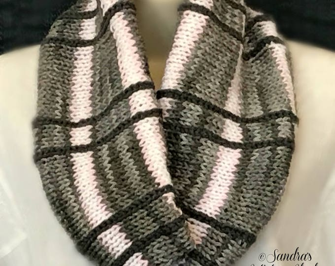 Plaid Knit Infinity Cowl-Gray with Stripes (4 Color Variations)