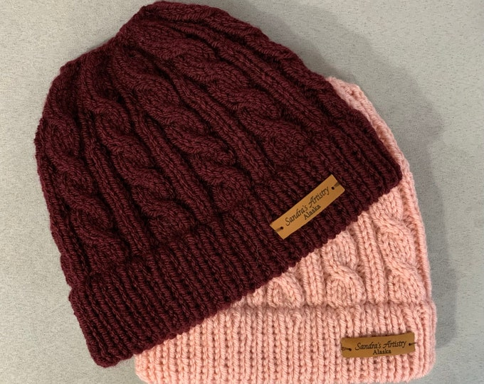 Messy Bun Hat-Cabled Knit with Rolled Brim (2 Color Options)- Adult