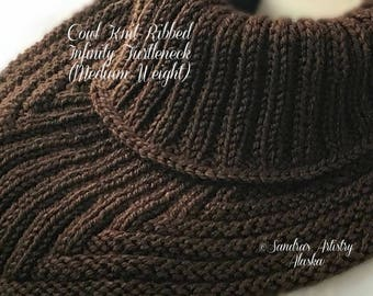 Cowl Knit-Ribbed Infinity Turtleneck (Medium Weight)