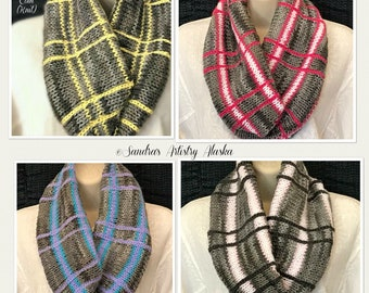 Plaid Knit Infinity Cowl-Gray with Stripes: (Available in 4 Color Variations) suitable for all Seasons