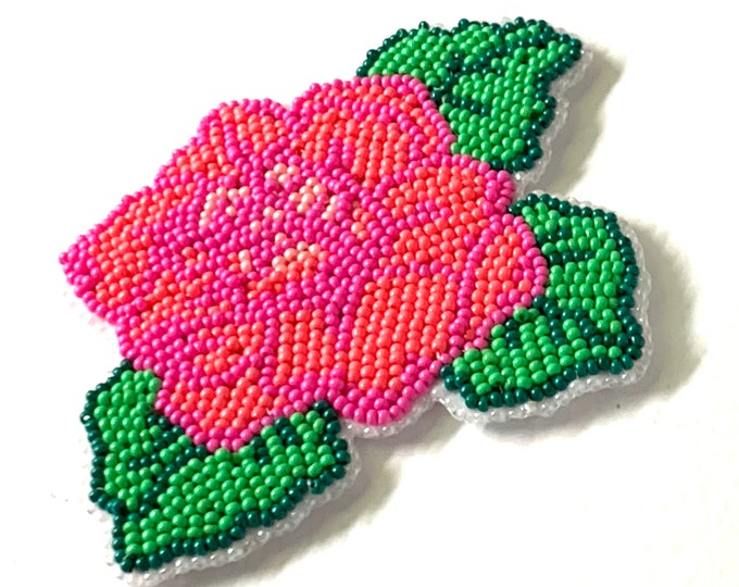 "Alaska Handmade Beaded Large Coral Rose-4-1/4x3-1/2"" in Czech Glass Beads"