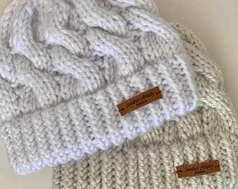 Chunky Fav Cabled Hat (in White or Beige) with rolled brim