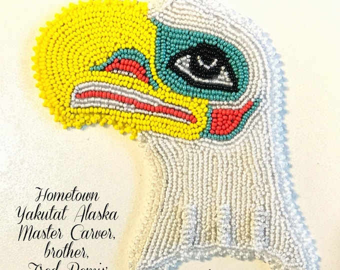 "Alaska Tlingit Bald Eagle Beaded Regalia Applique-4x4-1/2"" in Czech Glass Beads"
