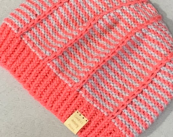 Two-Color Striped Hat/Beanie-Adult Size—(Two versions)
