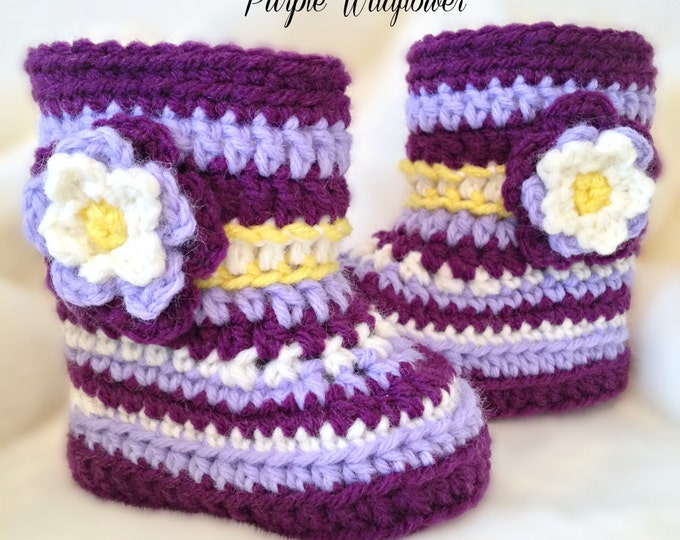 PURPLE WILDFLOWER-Alaskan Floral Booties -  One Infant Size available: 0-3 Months